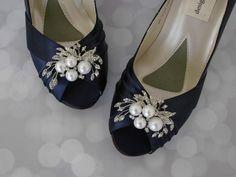 Navy Wedding Shoes / Pearl Bridal Shoes / Bride on Budget Wedding Shoes / Blue Wedding Shoes / Low Heel Shoes / Navy Blue Satin by EllieWrenWeddingShoe on Etsy https://www.etsy.com/listing/192826907/navy-wedding-shoes-pearl-bridal-shoes