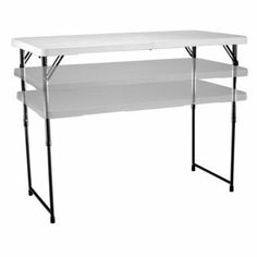Lifetime 4 ft. Rectangle Light Commercial Fold-In-Half Adjustable Folding Table - White - Folding Tables at Hayneedle