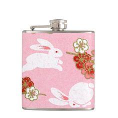 Japanese Art: Pink Sakuras & Rabbits Hip Flask