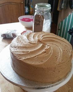 Dairy free Espresso Cake in progress! ☕  #deliciouscircle #dublinbakes #cake #bakingisgoodforme #coffee #coffeecake #espressocake #espresso #baking #bakingstation #kitchen #frosting #swirl #dairyfree #decorating #yummy #delish #nomnomnom #happiness #dublin #stoneybatter #homebakedhappiness #nofilter