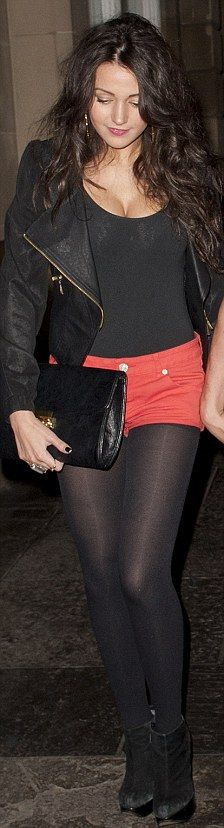 Michelle Keegan <3  This outfit is perfect for a night out love the tights under shorts look and love her hair btw