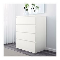 IKEA - MALM, 4-drawer chest, white, , Of course your home should be a safe place for the entire family. That's why a safety fitting is included so that you can attach the chest of drawers to the wall.Smooth running drawers with pull-out stop.If you want to organize inside you can complement with SKUBB box, set of 6.