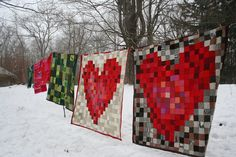 ao with <3 / Pixelated Heart Throw Blanket various colors