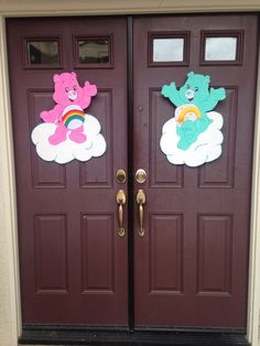 Care Bears birthday party door decorations