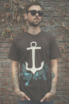 Brown and teal graphic anchor tee.