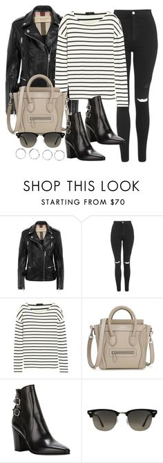 """""""Style #9411"""" by vany-alvarado ❤ liked on Polyvore featuring Burberry, Topshop, J.Crew, Yves Saint Laurent, Ray-Ban and Boohoo"""