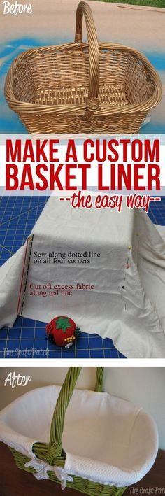 Basket Makeover The easy way to sew a fabric basket liner to fit any basket.This is an awesome sewing technique!The easy way to sew a fabric basket liner to fit any basket.This is an awesome sewing technique! Sewing Hacks, Sewing Tutorials, Sewing Crafts, Sewing Patterns, Sewing Tips, Sewing Ideas, Tutorial Sewing, Purse Tutorial, Bag Tutorials