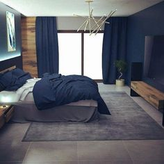 Discover the ultimate in master bedrooms with the top 50 best navy bedroom design ideas. Explore classy and calming wall color interior inspiration. Blue And Gold Bedroom, Dark Blue Bedrooms, Blue Master Bedroom, Blue Bedroom Decor, Bedroom Wall Colors, Bedroom Color Schemes, Blue Rooms, Home Bedroom, Master Bedrooms