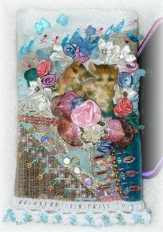 Cat Cellphone Pouch Hand Embroidered Crazy Quilt by Kittyandme, $39.00