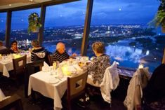 Skylon Tower Revolving Restaurant in Niagara Falls Niagara Falls Restaurants, Canada Travel, Ontario, Road Trip, Around The Worlds, Tower, Table Decorations, Beautiful, Fireworks