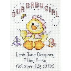 """Our Baby Girl Chick Birth Record Mini Counted Cross Stitch K-5""""X7"""" 14 Count Tobin http://www.amazon.com/dp/B00UY0WUAY/ref=cm_sw_r_pi_dp_xlBMvb0JS22T2"""