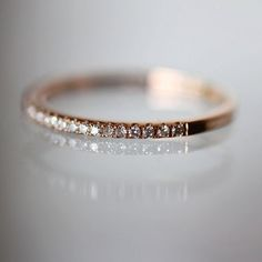 Micro Pave White Diamond Half Circle Band in Rose Gold (size - - Made to Order Gold Diamond Band, Gold Bands, Diamond Wedding Bands, Diamond Jewelry, Wedding Rings, Gold Wedding, Silver Jewelry, Ring Ring, Right Hand Rings