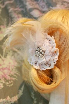 Hair accessory with feathers lace and pearls for wedding or
