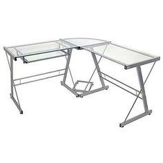 -Shaped Glass Corner Computer Desk