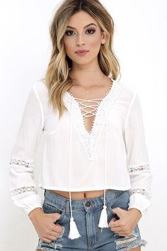 By My Oceanside Ivory Lace-Up Top at Lulus.com!
