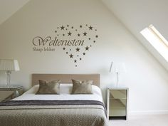 "Muursticker ""Buenas Noches, Que duermas bien"" met sterren - Slaapkamer muurstickers Wall Sticker, Wall Decals, Master Bedroom, Bedroom Decor, Bedroom Ideas, Diy Wall Painting, Good Night Sweet Dreams, Dream Wall, My Dream Home"