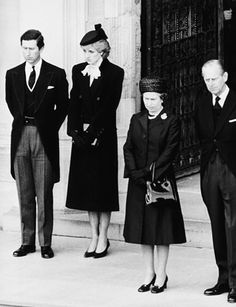 Queen Elizabeth II, Prince Phillip, Prince Charles and Princess Diana at Wallis Simpson, Duchess of Windsor, Funeral -1986.
