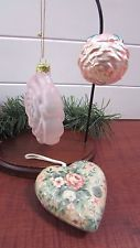 3 Vintage Pink Rose Christmas Ornaments 1 Heart 1 Clip On Victorian Tree