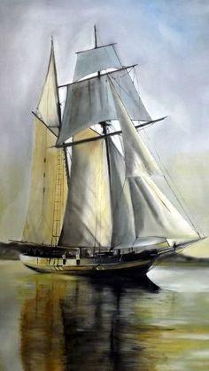 Pride of Baltimore huile sur toile par le peintre Renaud Hadef