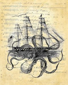 Octopus cuddlefish kraken attack ship ocean by PaperRescueDesigns