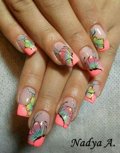 Nail Art Designs and Colors for Summer Fancy Nails, Cute Nails, Pretty Nails, Gel Nail Designs, Cute Nail Designs, Fabulous Nails, Perfect Nails, Spring Nails, Summer Nails