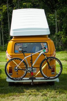 VW Van with Mountain bike in tow at local competition.  #Virginia #VW #travel #adventure #MTB