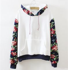 Korean fashion cute flower sleeve hooded fleece pullover · Fashion Kawaii [Japan & Korea] · Online Store Powered by Storenvy