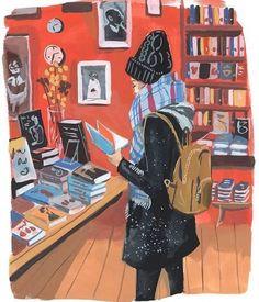 Illustration by Jenny Kroik Winter Illustration, Cute Illustration, Painting Inspiration, Art Inspo, Image Deco, Reading Art, Reading Cartoon, Speed Reading, Reading Fluency