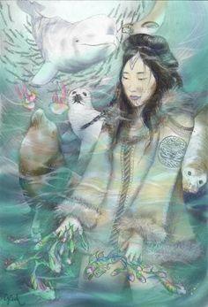 Sedna (Inuktitut: ᓴᓐᓇ): Inuit deity of marine animals, & Mother of the Sea. In some versions, is the daughter of Anguta. She is also known as Arnakuagsak, Arnaqquassaaq, Sassuma Arnaa, Nerrivik, Arnapkapfaaluk, Nuliajuk, & Takánakapsâluk.