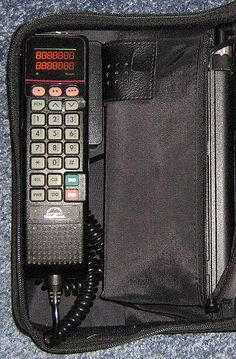 My first cell phone I ever had was one of these monstrous cell phones in a bag!  I kept it under the driver's seat.  Hilarious!