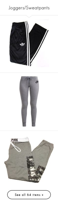 """Joggers/Sweatpants"" by princessraegann ❤ liked on Polyvore featuring activewear, activewear pants, pants, bottoms, clothing - trousers, workout, adidas originals, track suit, track pants and adidas originals tracksuit"