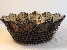 Hobnail and Fan Designed Bowl Smoke Colored Serving by LasLovelies