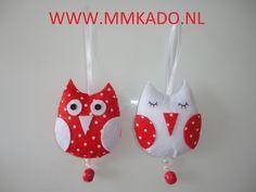 Lieve uiltjes van vilt in rood en wit!  http://www.mmkado.nl