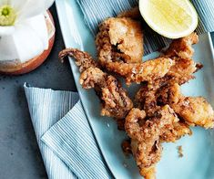 Australian Gourmet Traveller recipe for squid kara-age with Japanese mayonnaise. Seafood Recipes, Gourmet Recipes, Cooking Recipes, Cooking Ribs, Shellfish Recipes, Asian Cooking, Delicious Recipes, Tasty, Gastronomia