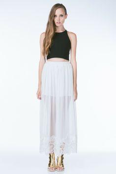 White Sheer Floral Maxi Skirt