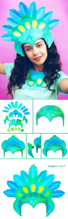 Make your own headpiece for Rio Carnival, Mardi Gras, or celebrate with your own Carnival! Printable headdress and necklace templates and DIY carnival costume tutorial at https://happythought.co.uk/product/printable-carnival-headpiece Rio Carnaval here we come!