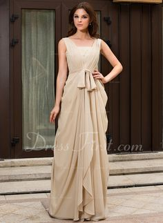 A-Line/Princess V-neck Sweep Train Chiffon Evening Dress With Ruffle Lace Beading (022027057) - DressFirst