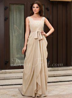 A-Line/Princess V-neck Sweep Train Chiffon Evening Dress With Ruffle Lace Beading (022027057) - DressFirst