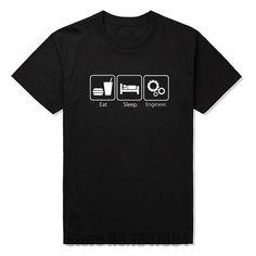 New Fashion T Shirts Eat Sleep Engineer Tshirts Cotton Short Sleeve Engineering Career Occupation Funny Technology T-shirts