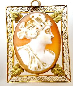 Victorian 10K Gold Cameo Pendant Brooch Hand Carved Shell Pin