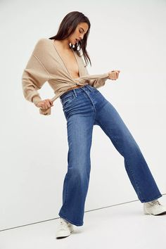 MOTHER The Tomcat Roller Fray Jeans | Free People Mom Jeans, Skinny Jeans, Jean Outfits, Bell Bottom Jeans, Hemline, Shopping Lists, Pinterest Board, Flare, Free People