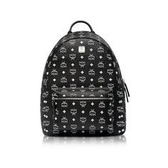 MCM Handbags Black Medium White Logo Visetos Stark Backpack ($980) ❤ liked on Polyvore featuring bags, backpacks, black, handbags, print bags, mcm bag, backpack bags, day pack backpack and zipper bag