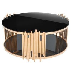 RMGFineImports Mauris Round Coffee Table with Magazine Rack Finish: Rose Gold Barrel Coffee Table, Glass Top Coffee Table, Round Coffee Table, Coffee Table With Storage, Art Deco Coffee Table, Plywood Furniture, Table Furniture, Furniture Design, Living Furniture