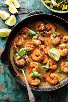 20 Minute Honey Garlic Butter Shrimp | halfbakedharvest.com Shrimp Coconut Milk, Garlic Butter Shrimp, Mango Salsa, Cilantro Salsa, Shrimp Recipes, Fish Recipes, Cooking Recipes, Healthy Recipes, Scd Recipes