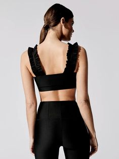 Ruffle Detail in Black Yoga Wear, Gym Wear, Gym Clothes Women, Yoga Pants Outfit, Sports Leggings, Sport Wear, Athletic Wear, Workout Wear, Sport Outfits