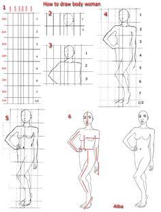 Tutorial draw body woman by ~lamorghana on deviantART Female Drawing, Human Figure Drawing, Woman Drawing, Female Art, Learn Drawing, Shading Drawing, Drawing Heads, Body Drawing, Tutorial Draw