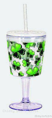 SPOONTIQUES Shamrocks 12 oz Acrylic Goblet w Top & Straw Irish St. Patrick's Day