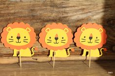 Critter party-lion, 12-piece Lion cutout, birthday party,first birthday, Cupcake topper, cake topper, center piece by EllyPartyShop on Etsy