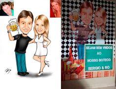 Caricaturas digitais, desenhos animados, ilustração, caricatura realista: Desenho casal , tema boteco !!