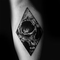 Hollow Eyed Skull Inside Triangle Dotwork Tattoo Male Forearms